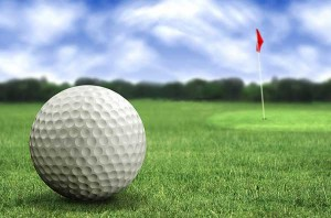 golfball and flag