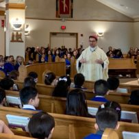 Bishop Cantú Visits St. Justin School